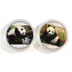 2015 & 2016 China S10Y Coloured 30g Fine Silver Pandas (Tax Exempt) Coins come encapsulated. 2pcs.