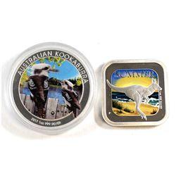 2013 Australia $1 Summer 1oz Fine Silver Coin & 2017 Australia $1 Coloured - Kookaburra 1oz Fine Sil