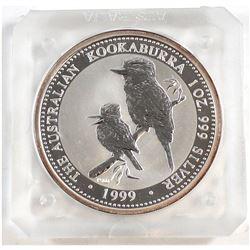 1999 Australia 1oz Fine Silver Kookaburra (Tax Exempt). Coin comes encapsulated.