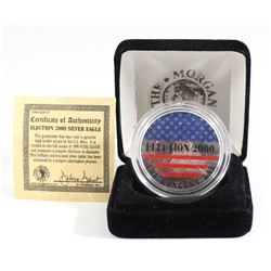 2000 United Stated $1 Coloured 'Election' Fine Silver Eagle (Tax Exempt) Coin comes encapsulated in