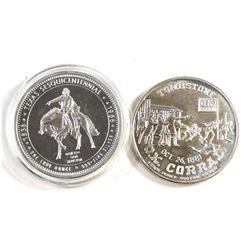 1986 Texas Sesquicentennial 1oz Fine Silver Round & Tombstone 'O.K Corral' 1oz Fine Silver Round. Pl
