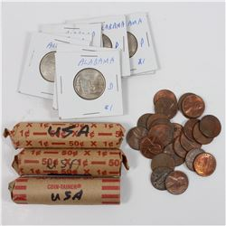 Estate Lot of Miscellaneous USA Coins: 183x United States 1-cent & 25-cent coins. This lot includes