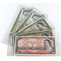 Estate Lot of 5 Notes from the Bank of Canada. Included is 1 x 1954 $2, 2 x 1954 $20s and 2 x 1973 $