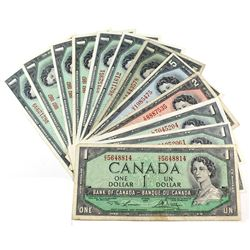 Group Lot of Twelve Banknotes from the Bank of Canada from 1954 to 1967. Included are 3 x 1954 $1, 1