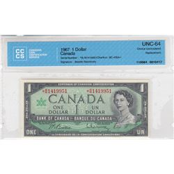 1967 Replacement $1.00, S/N: *B/M1419951, CCCS Certified UNC-64.