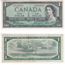 1954 $1.00 Note with Low Serial Number S/L0000007