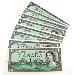 8 x 1954 $1.00 Notes all with Changeover or Short Run Prefixes. 8 Pieces.