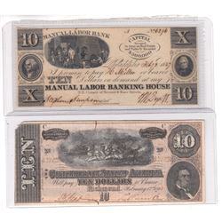 2 x $10 Notes from the 1800's: one from the Manual Labour Bank and one from the Confederate States o