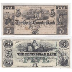 2 x $5.00 Obsolete Remainder Banknotes from the 1800's USA. One from the Peninsular Bank and one fro