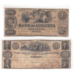 2 x Obsolete Banknotes from 1800's USA. A $1 from the Bank of Augusta and a $20 from the Mississippi