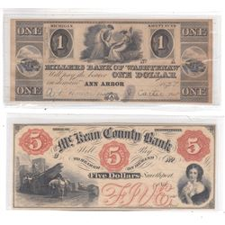 2 x Remainder Obsolete Banknotes from 1800's USA. A $1 from the Millers Bank of Washtenaw and a $5 f
