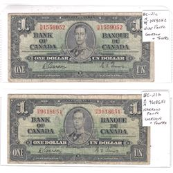 Pair of 1937 $1.00 Notes with Gordon-Towers Signatures, one with a Narrow Panel, one with a Wide Pan