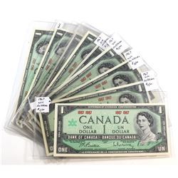 10 x 1967 Commemorative $1.00 Notes, mostly Uncirculated. 10 pcs.