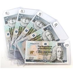 5 x 2005 Royal Bank of Scotland PLC 5 Pound Notes featuring Jack Nicklaus with Consecutive Serial Nu