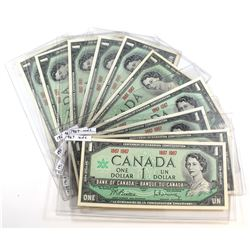 10 x 1967 Commemorative $1.00 Notes without Serial Numbers, mostly UNC. 10 pcs.