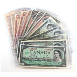 Group Lot of 14 $1 and $2 Notes. Included is 3 x 1967 $1, 3 x 1973 $1, 3 x 1954 $2, 3 x 1974 $2, and