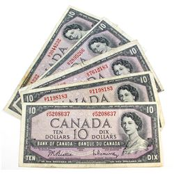 5 x 1954 Modified Portrait $10.00 Notes. Various Signatures. 5 pcs.