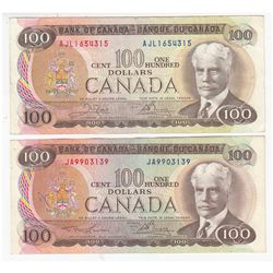 Complete Signature Type Set of the 1975 $100 Series. Included are Two 1975 $100 Notes, one of each S