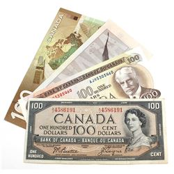 Run of Four Different $100 Notes from Four Different Series Spanning from 1954 to 2004. Included is