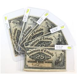 5 x 1900 25c Notes in Fine or better condition. All Notes have impairments (holes, tears, etc.) 5 pc