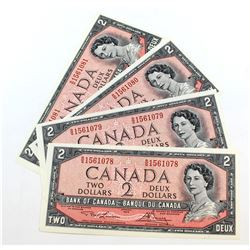 4 x 1954 $2.00 Notes with Lawson-Bouey Signatures and Consecutive Serial Numbers all in UNC Conditio