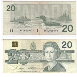 1991 $20.00 Note with Low Serial Number AVC0000474.