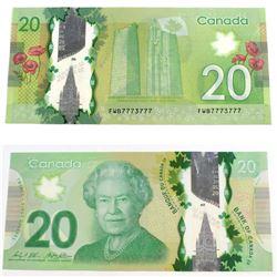 2012 2 digit RADAR $20.00 Note in Extra Fine Condition.