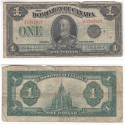 1923 $1.00 Note from the Dominion of Canada with a Black Seal.