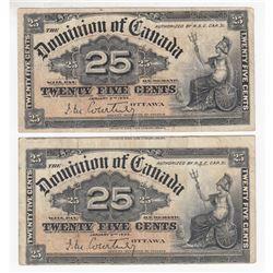 2 x 1900 25c Notes with Scarce Courtney Signature. 2 pcs.