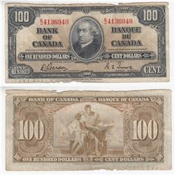 1937 $100 Note with Gordon-Towers Signatures.