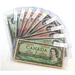 10 x Changeover Prefix Notes Spanning from 1954 to 1974. Included are 2 x 1954 $1, 2 x 1973 $1, 3 x