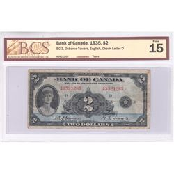 1935 English $2.00 Note, BCS Certified F-15. Comments of Tears.