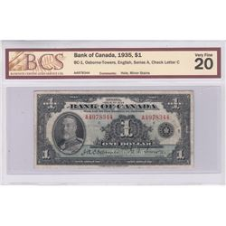 1935 English $1.00 Note, BCS Certified VF-20. Comments of Minor Stains and Hole.