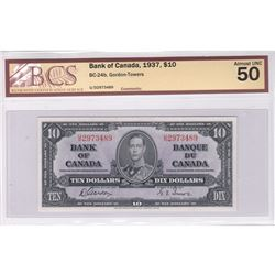 1937 $10.00 Note with Gordon-Towers Signatures, BCS Certified AU-50.