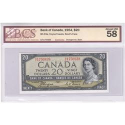 1954 Devil's Face $20 with Coyne-Towers Signatures, BCS Certified AU-58. Comments of Stain.