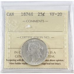 1874H Canada 25-cent ICCS Certified VF-20