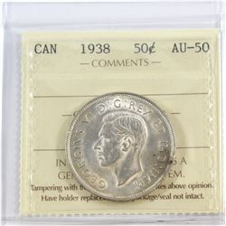 1938 Canada 50-cent ICCS Certified AU-50