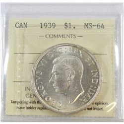 1939 Canada Dollar ICCS Certified MS-64
