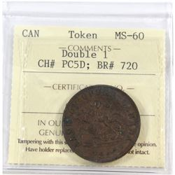 Token CH# PC5D; BR # 720 Double 1 ICCS Certified MS-60
