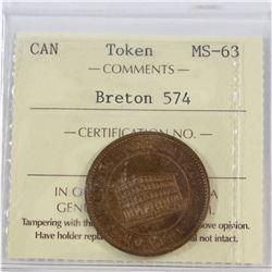 Token Breton #574 ICCS Certified MS-63