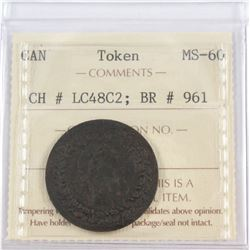 Token CH# LC48C2; BR # 961 ICCS Certified MS-60