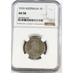 1910 Australia 1-shilling NGC Certified AU-58
