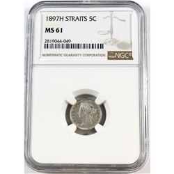 1897H Straits 5-cent NGC Certified MS-61
