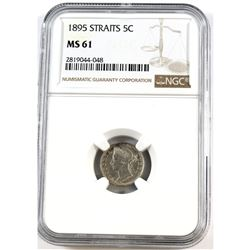 1895 Straits 5-cent NGC Certified MS-61