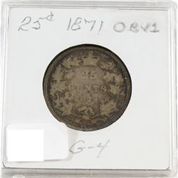 1871 Canada Obv. 1 25-cent G-4