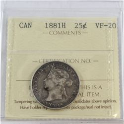 1881H Canada 25-cent ICCS Certified VF-20