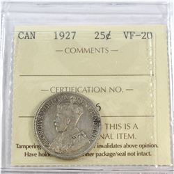 1927 Canada 25-cent ICCS Certified VF-20