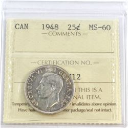 1948 Canada 25-cent ICCS Certified MS-60
