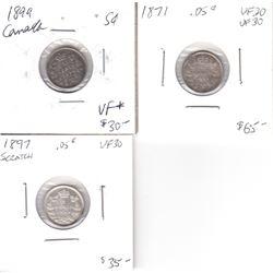 1871, 1897 (scratch), 1899 Canada 5-cent VF-30. 3pcs.