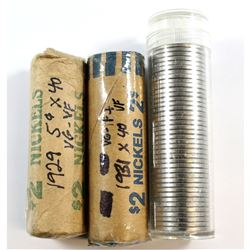 1929, 1931, 1967 Canada 5-cent Rolls. You will receive a 1929 Roll of 40pcs in VG - VF, 1931 Roll of